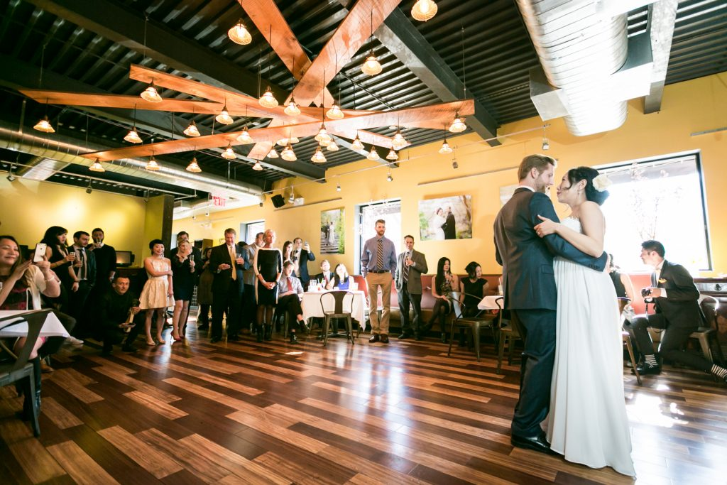 Bride and groom during first dance at an Astoria restaurant wedding