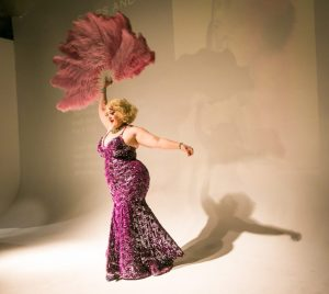 Miss Dirty Martini performing at the Atlas Obscura burlesque history lecture and cabaret performance