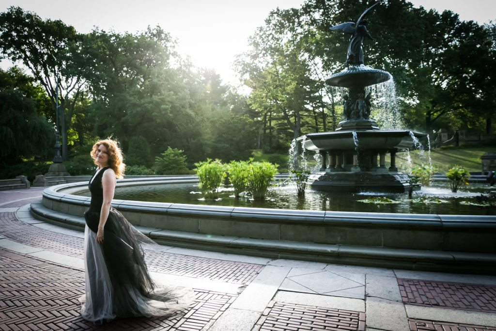 Couple at the Bethesda Fountain for an article on Central Park engagement shoot tips by NYC engagement photographer, Kelly Williams