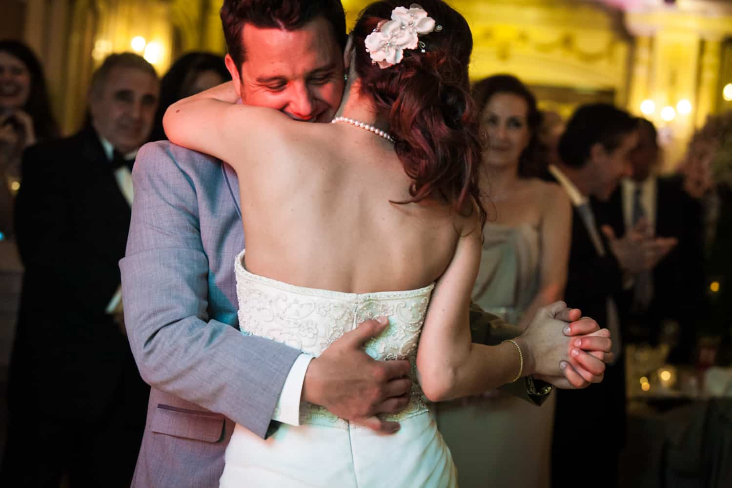 Bride and groom during first dance at a Manor wedding reception