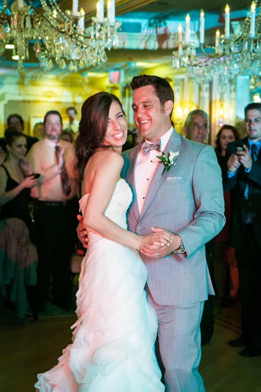Bride and groom dancing during Manor wedding reception