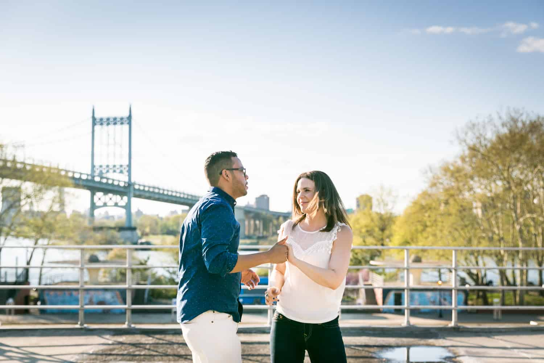 Couple dancing on Astoria Pool platform