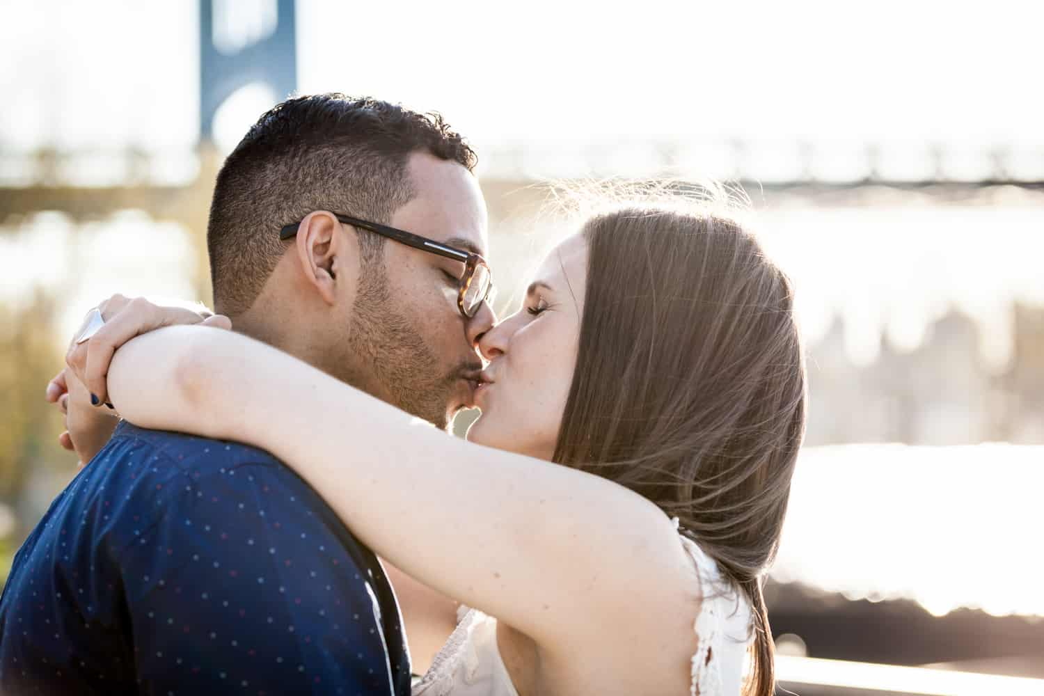 Couple kissing during an Astoria Park engagement shoot