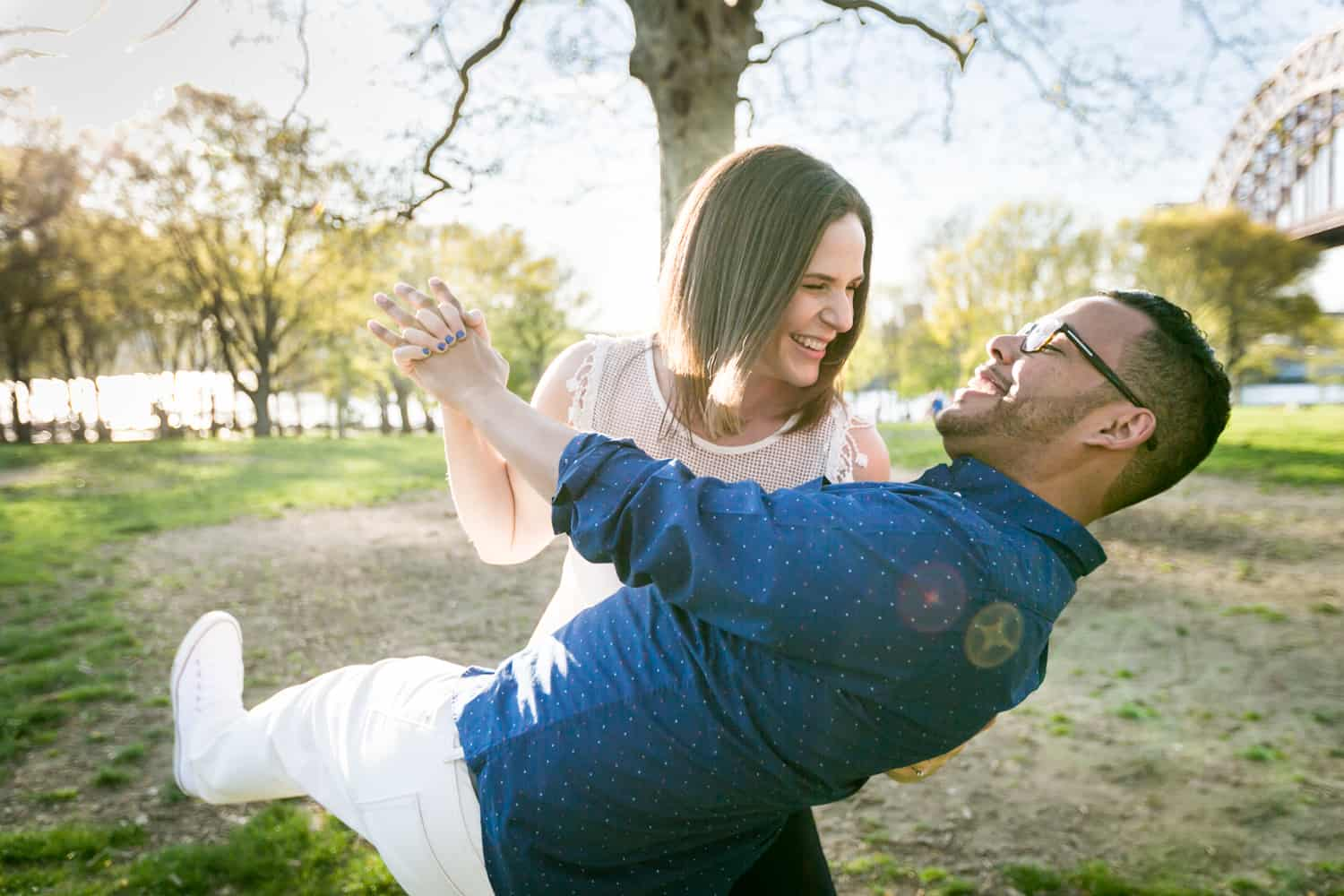 Couple dancing during an Astoria Park engagement shoot