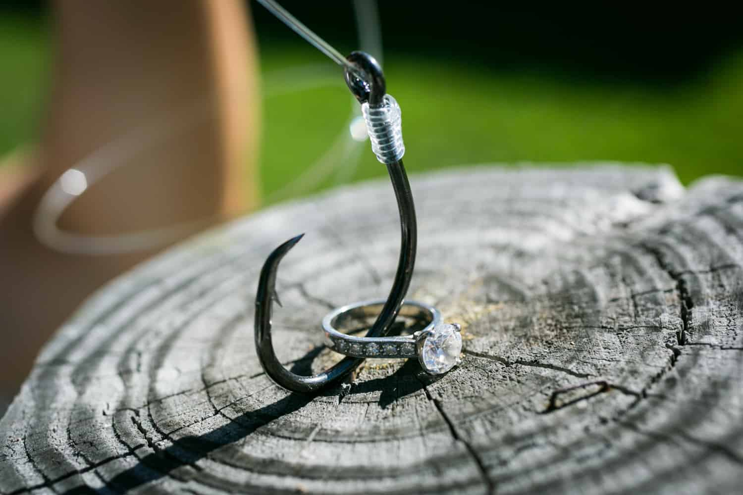 Fishing hook and engagement ring