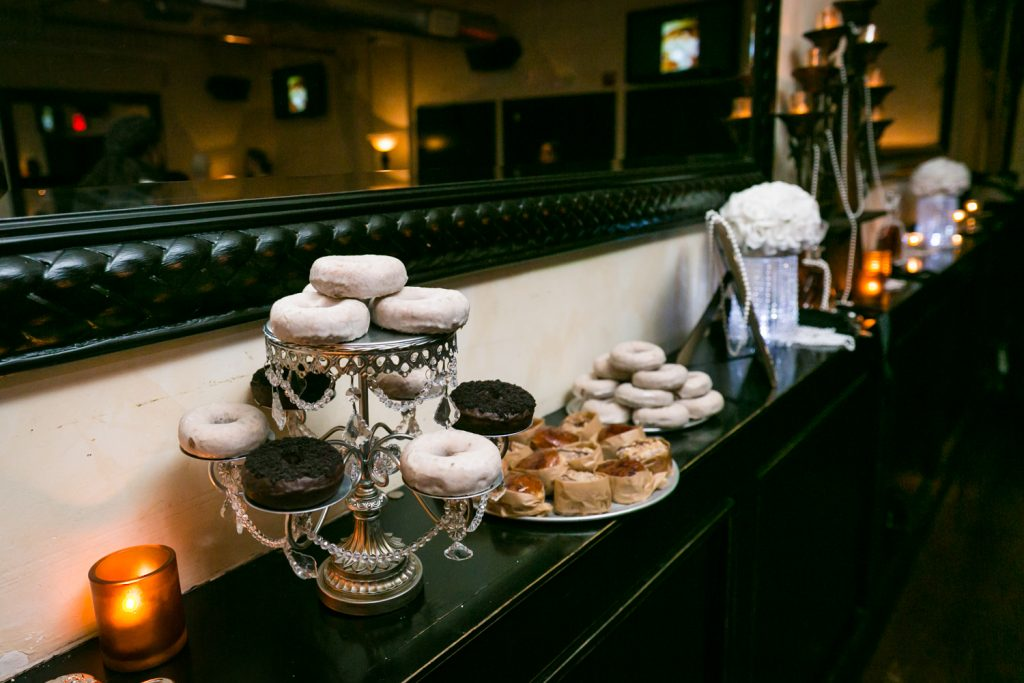 Display of doughnuts at wedding reception