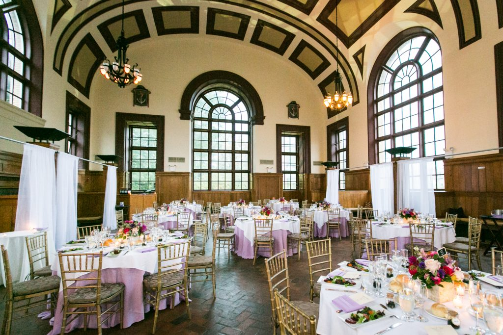 Great Hall Ballroom and table settings at a Snug Harbor wedding
