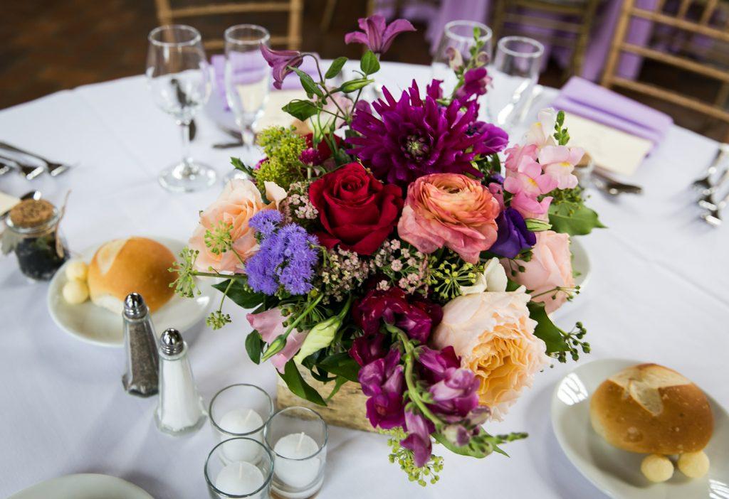 Floral centerpiece at a Snug Harbor wedding