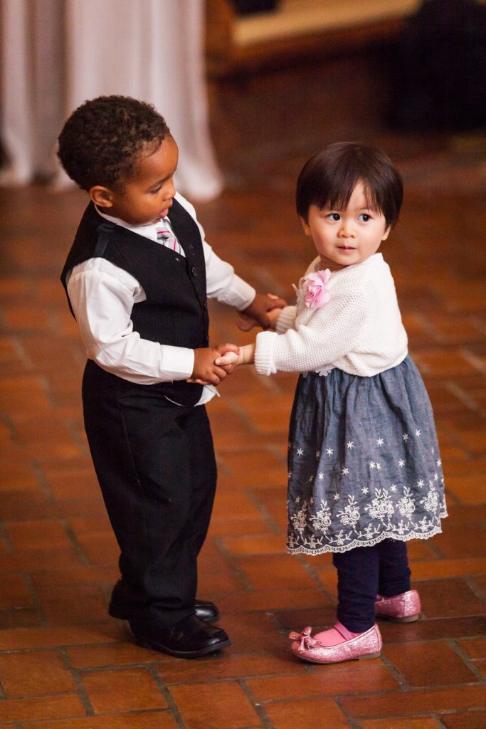 Little boy and girl dancing at a Snug Harbor wedding