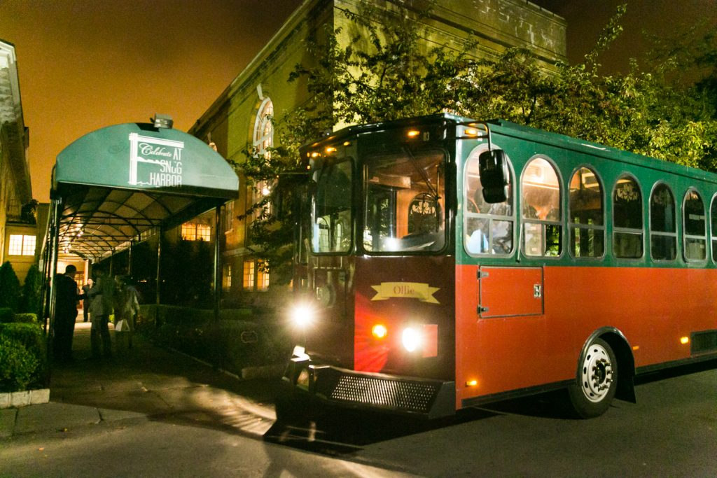 Trolley parked in front of Snug Harbor at a Snug Harbor wedding