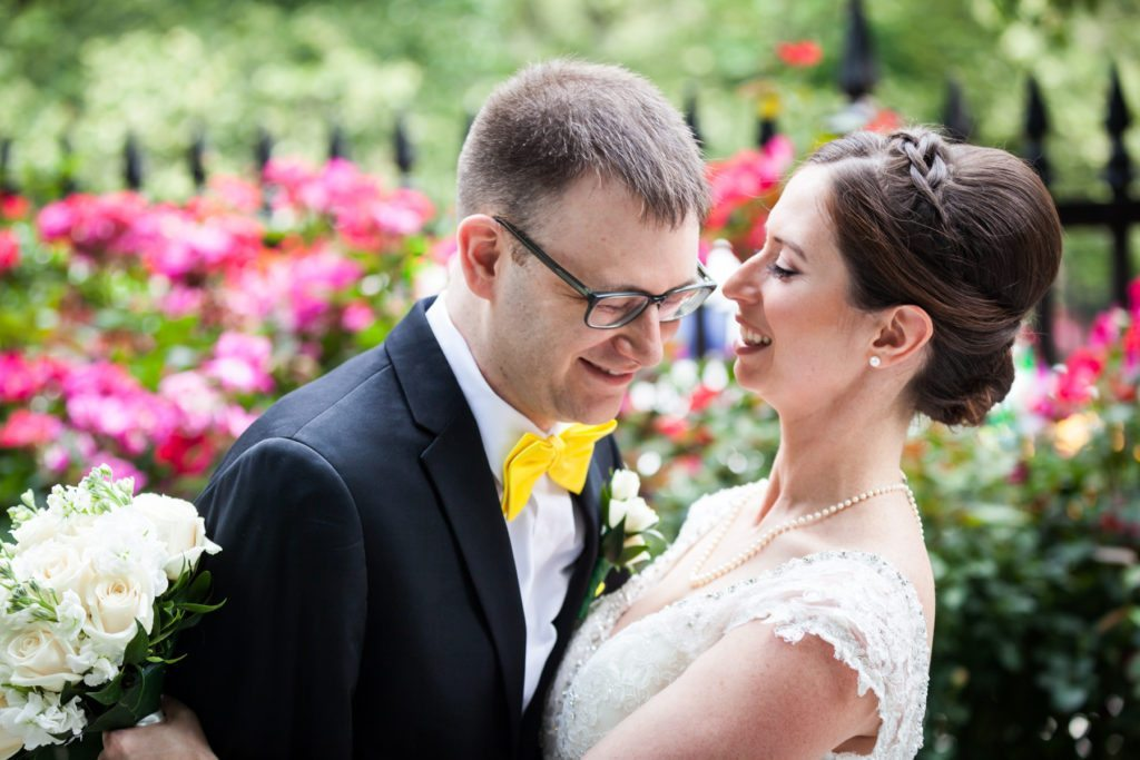Bride and groom portrait in Stuyvesant Square for a Columbus Citizens Foundation wedding by NYC wedding photojournalist, Kelly Williams