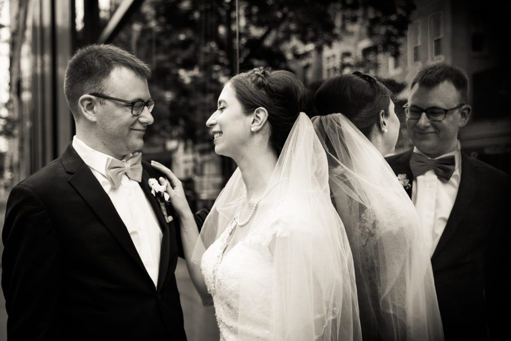 Bride and groom portrait before a Columbus Citizens Foundation wedding by NYC wedding photojournalist, Kelly Williams