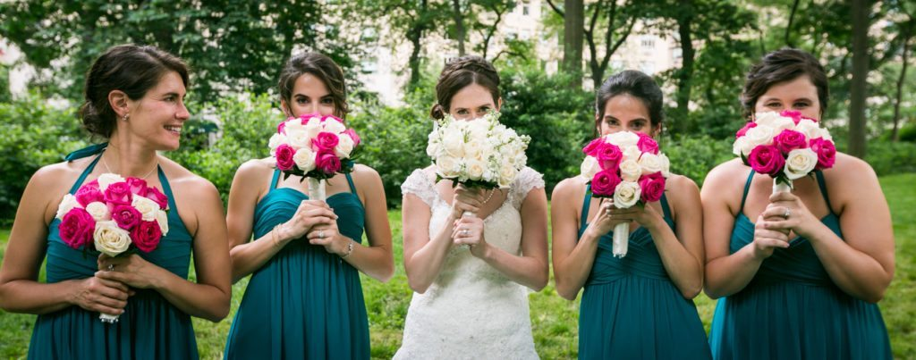 Bridal party portrait in Central Park before a Columbus Citizens Foundation wedding by NYC wedding photojournalist, Kelly Williams