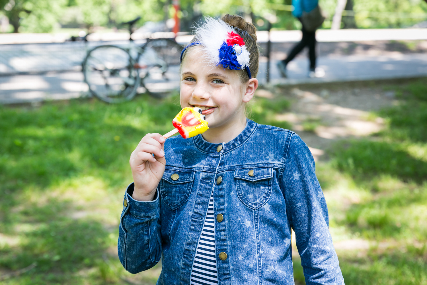 Girl eating ice cream in Central Park