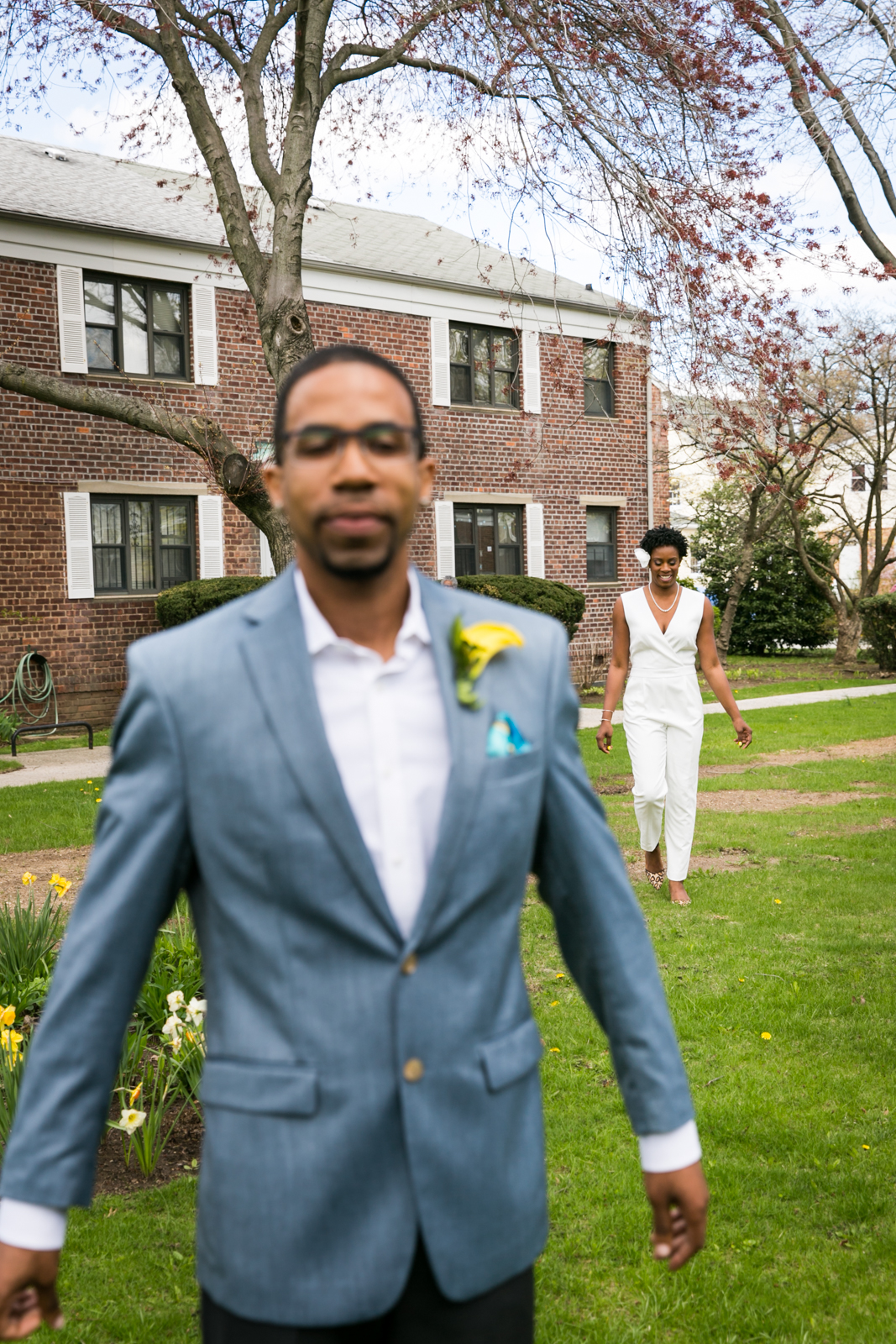 Bride walking to groom for article on how to get the perfect first look