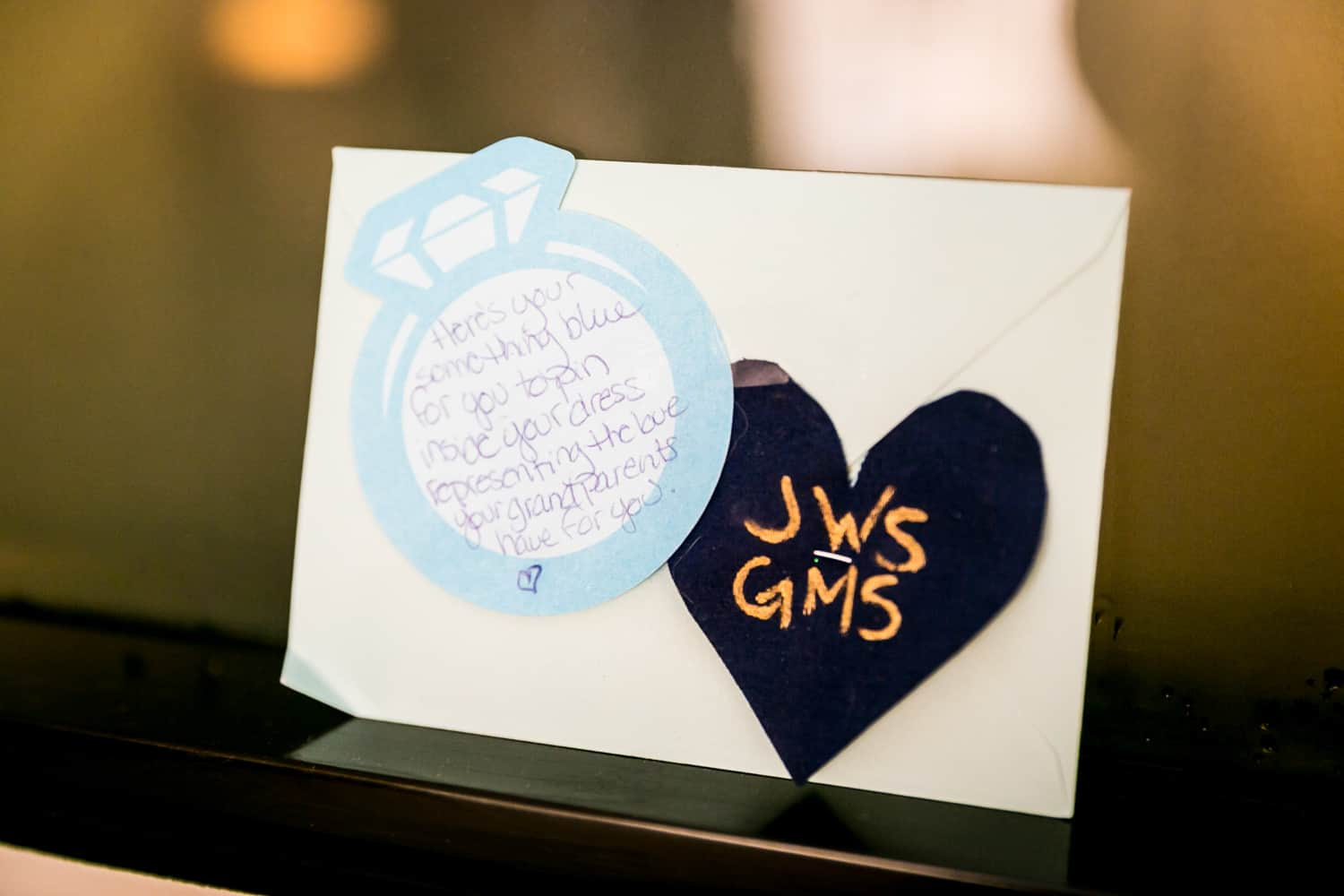 Card with handwritten note for bride
