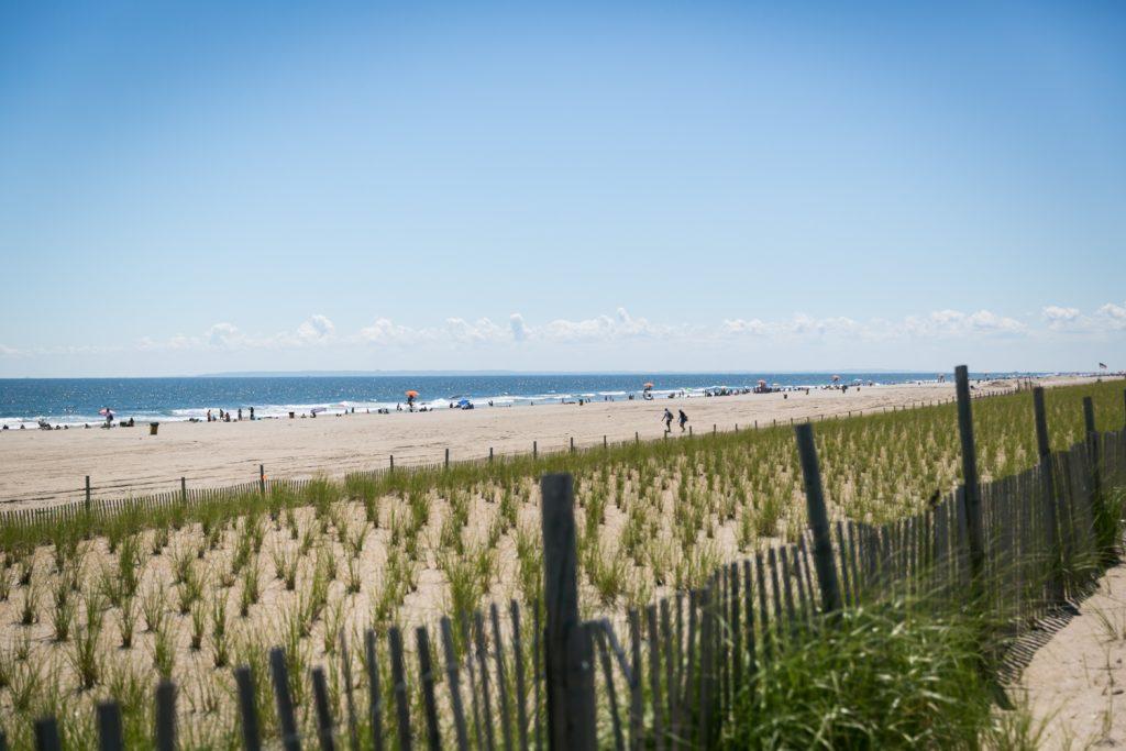 Fence and beach at Far Rockaway