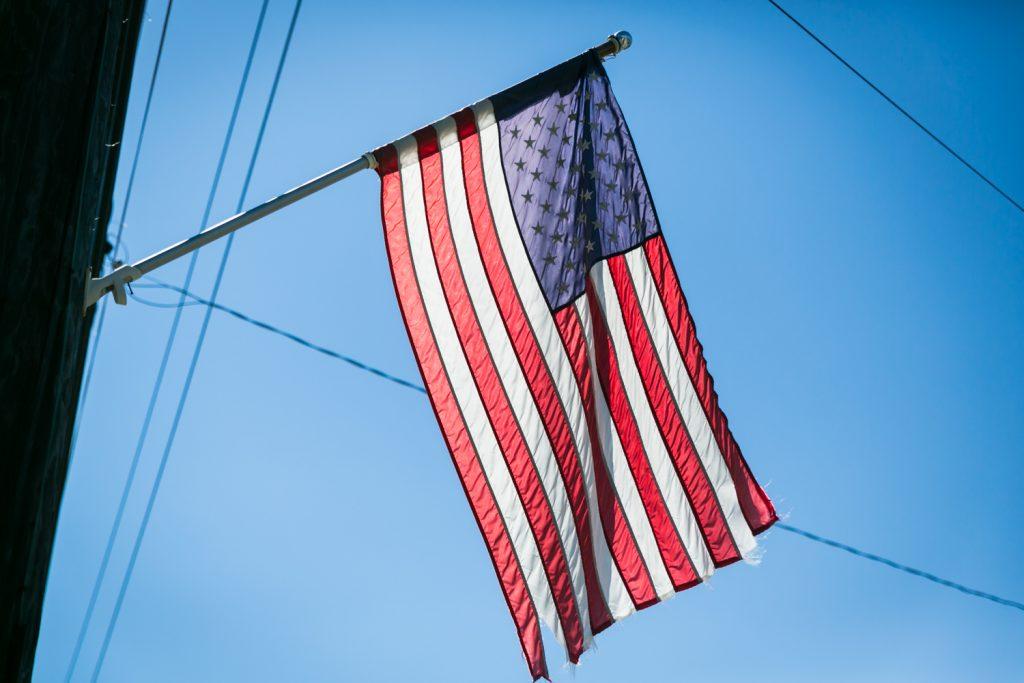 American flag flying in Far Rockaway