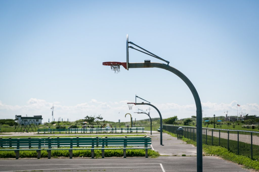 Hoops on a Far Rockaway basketball court