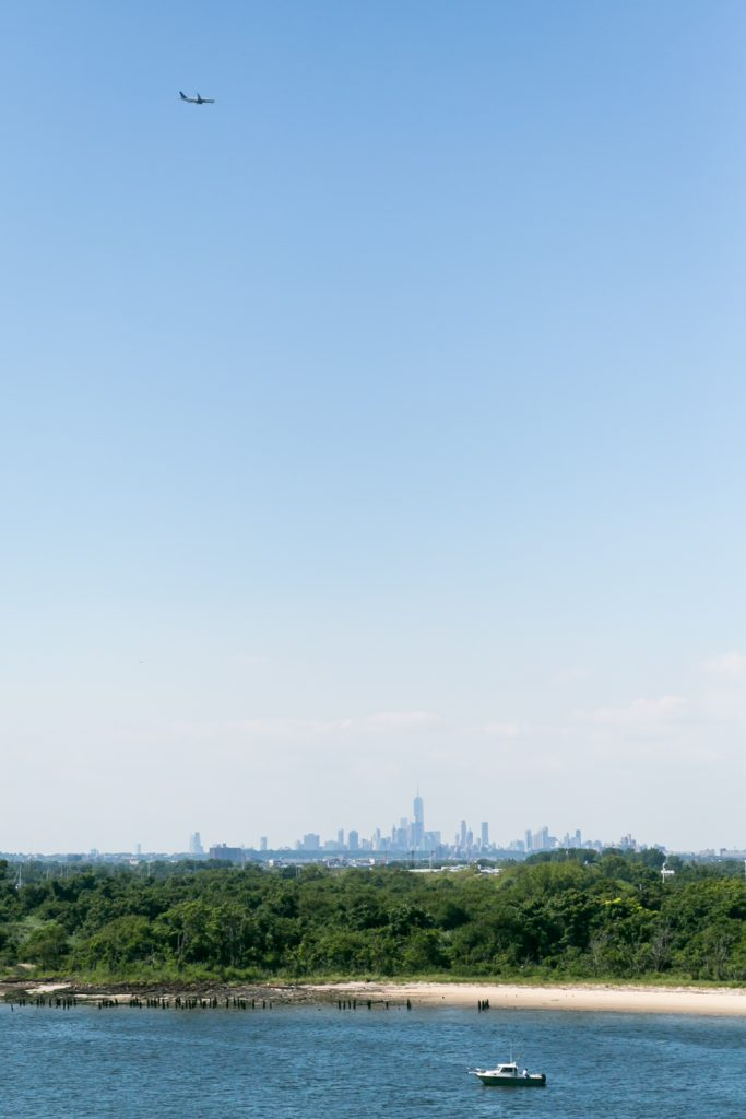 View of Dead Horse Bay with NYC skyline in background