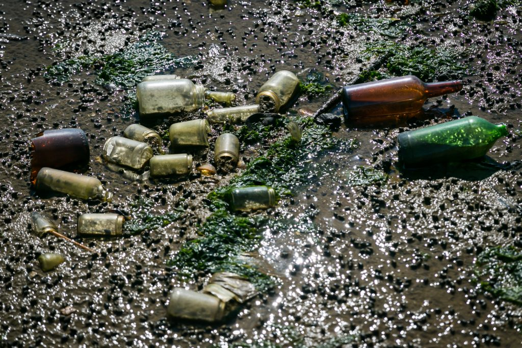 Dead Horse Bay photos of bottles on polluted beach