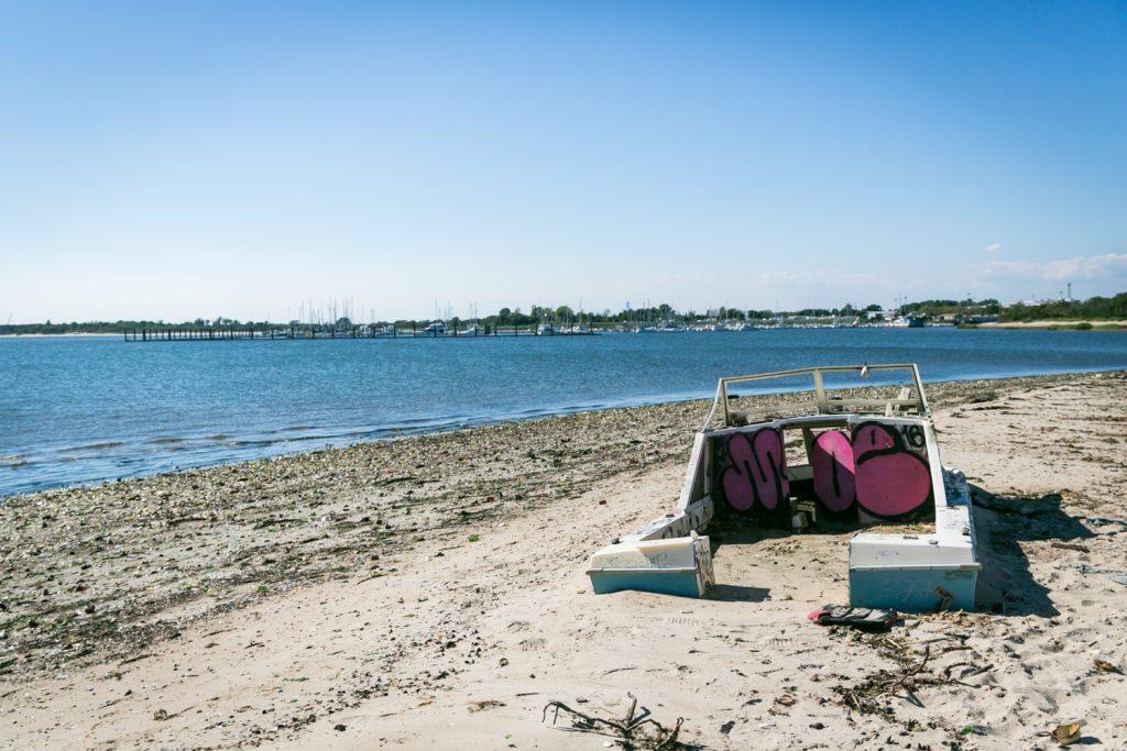 Dead Horse Bay photos of boat on beach
