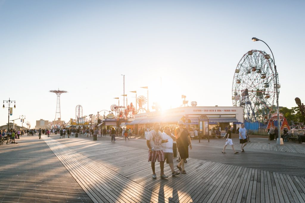 Sunset over boardwalk in Coney Island, Brooklyn
