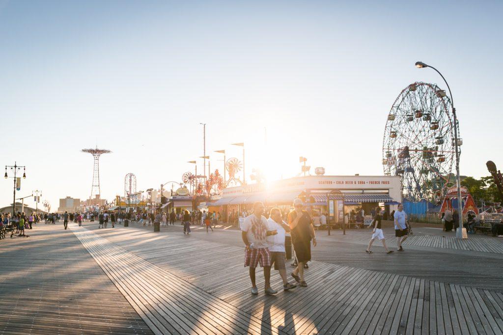 Sunset over boardwalk in Coney Island, Brooklyn