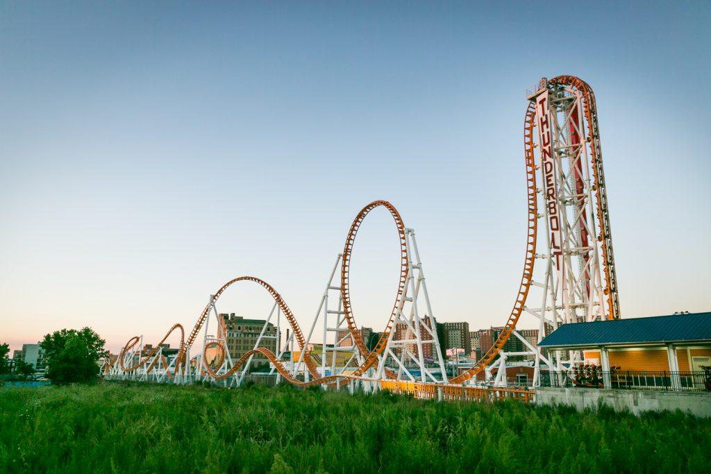 Roller coaster loops in Coney Island, Brooklyn