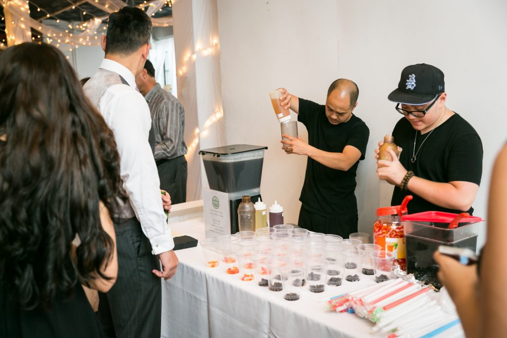 A make your own bubble tea station at a wedding for an article on event entertainment ideas