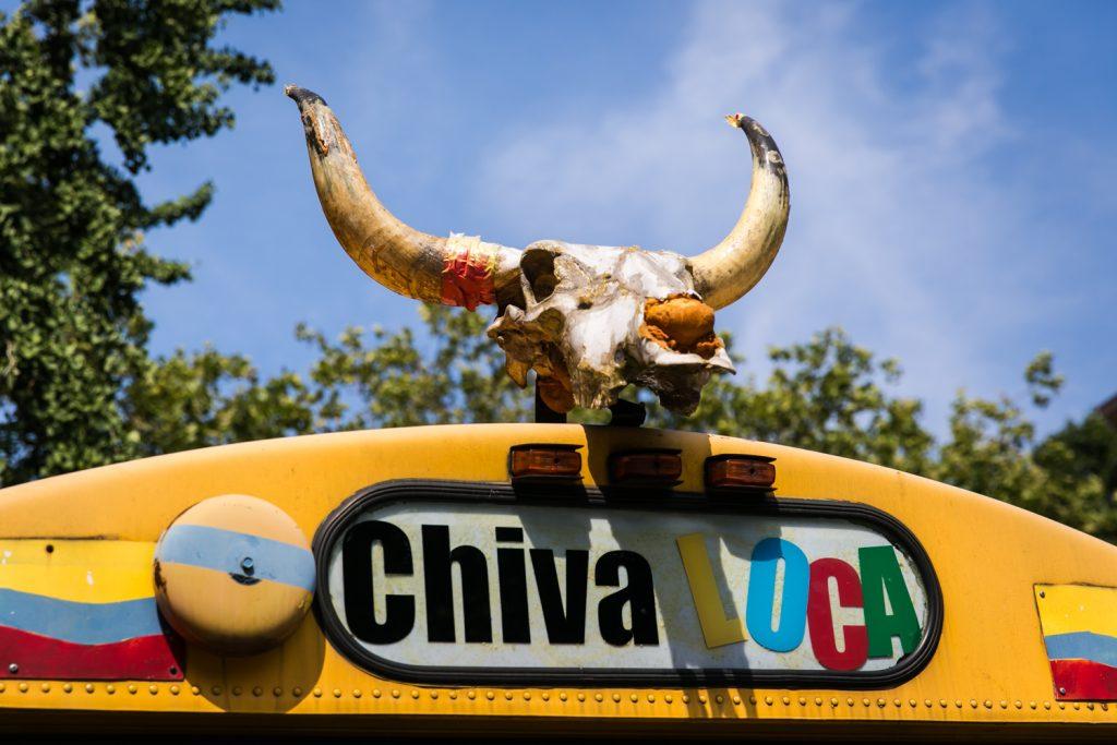 Chiva Loca bus with bull skull and horns at a DUMBO Loft wedding