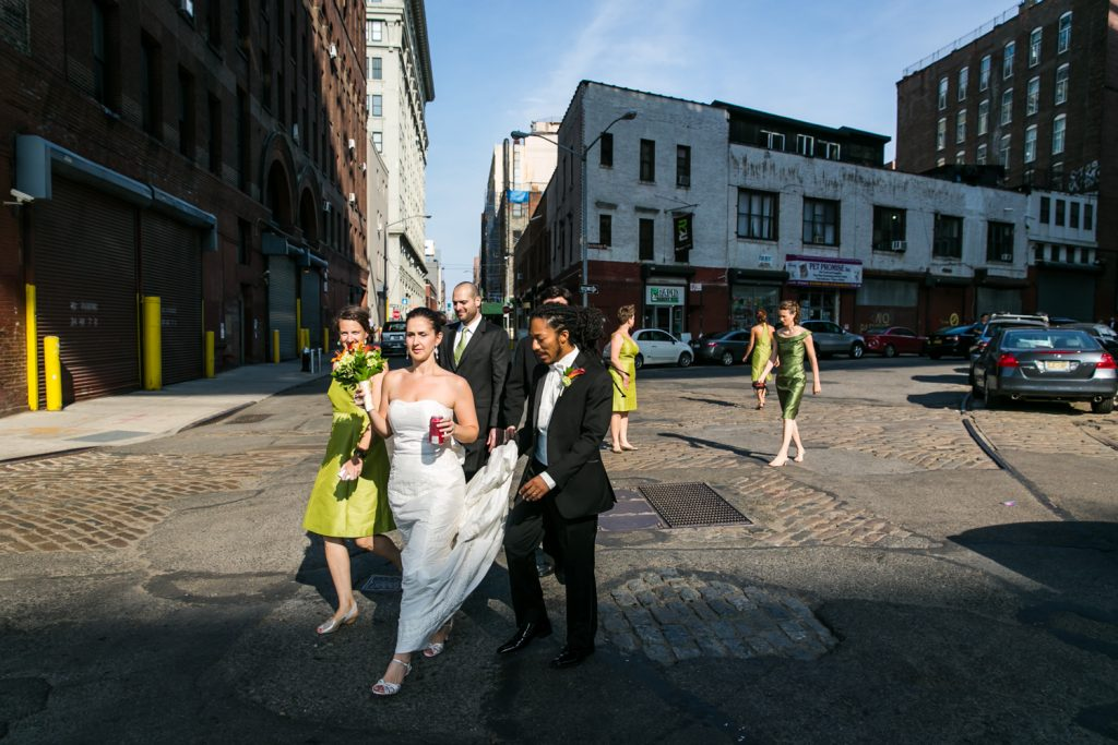 Bride and bridal party walking to Brooklyn Bridge Park
