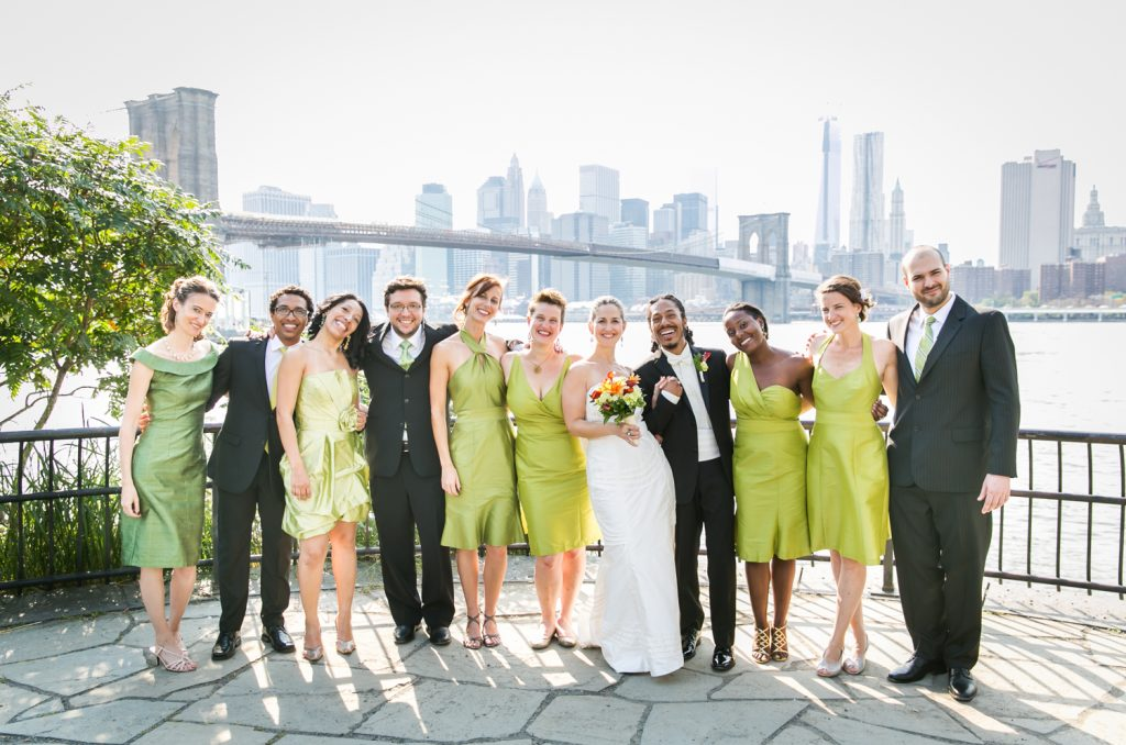 Portrait of bridal party at Brooklyn Bridge Park