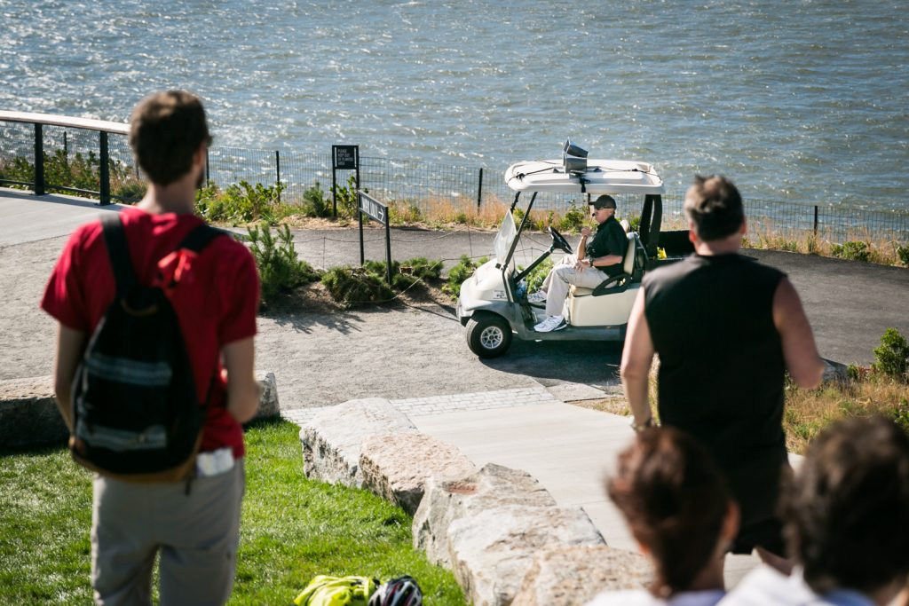 Governors Island photos of security guard in golf cart