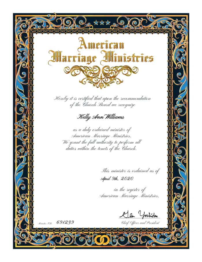 Wedding ordination certificate fromthe American Marriage Ministries