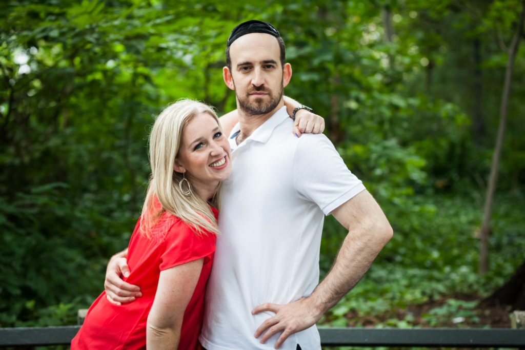Prospect Park family photos of man and woman making funny faces