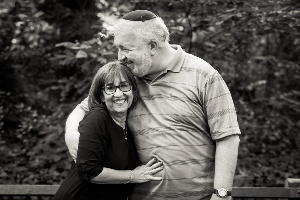 Black and white photo of older couple in Prospect Park