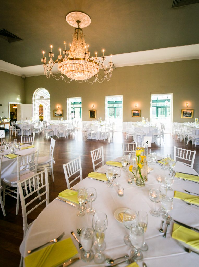Reception tables at Highlands Country Club wedding ceremony