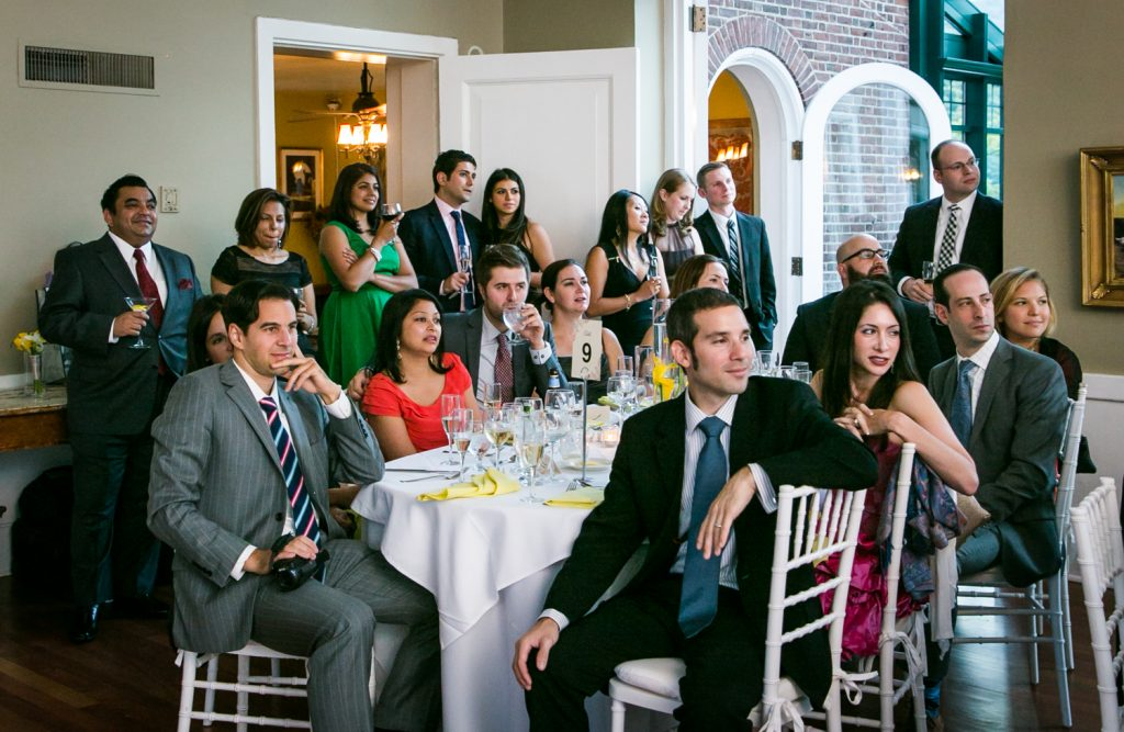 Guests listening to speeches at Highlands Country Club wedding ceremony