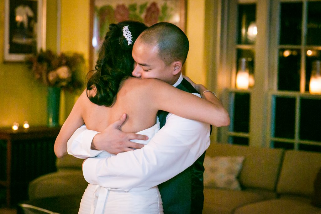 Bride and groom hugging at Highlands Country Club wedding