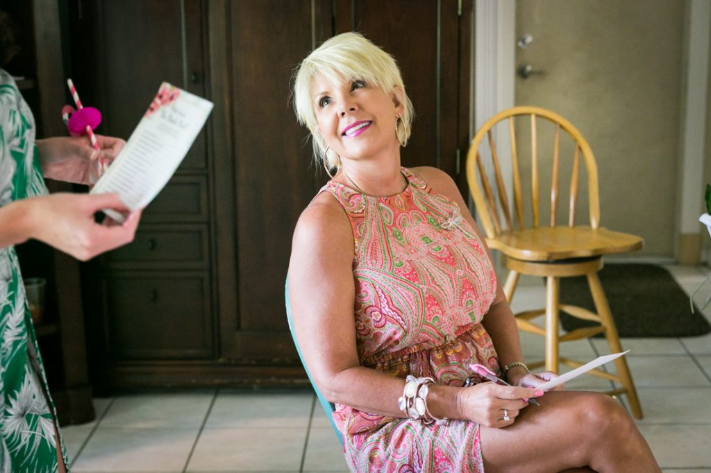 Female guest with short blond hair during Florida bridal shower