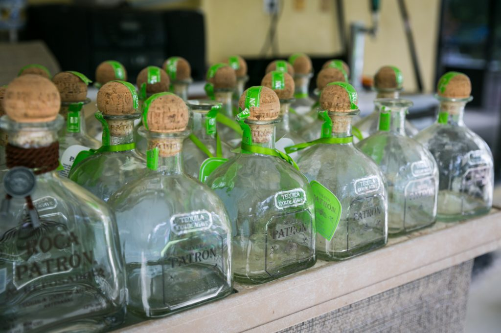 Row of empty tequila bottles