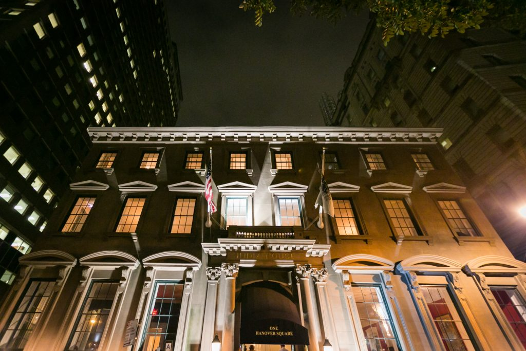 Exterior of India House venue at night
