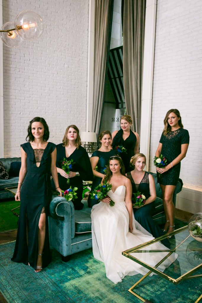 Portrait of bride and bridesmaids before a Bathhouse Studios wedding