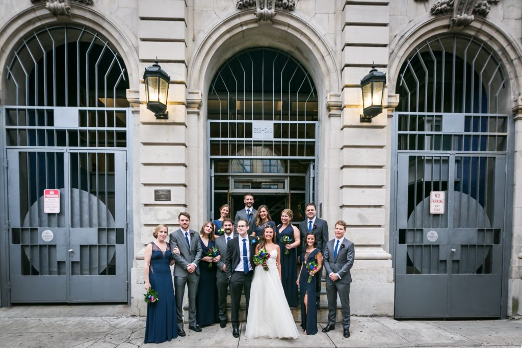 Portrait of bridal party in front of Bathhouse Studios