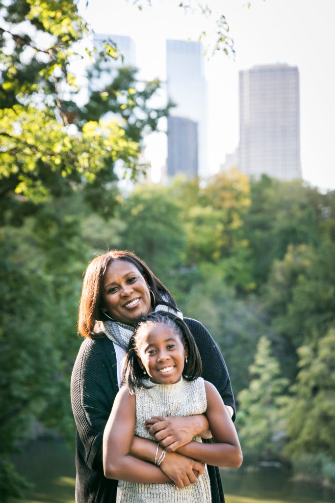 Central Park fall family portrait of mother and daughter