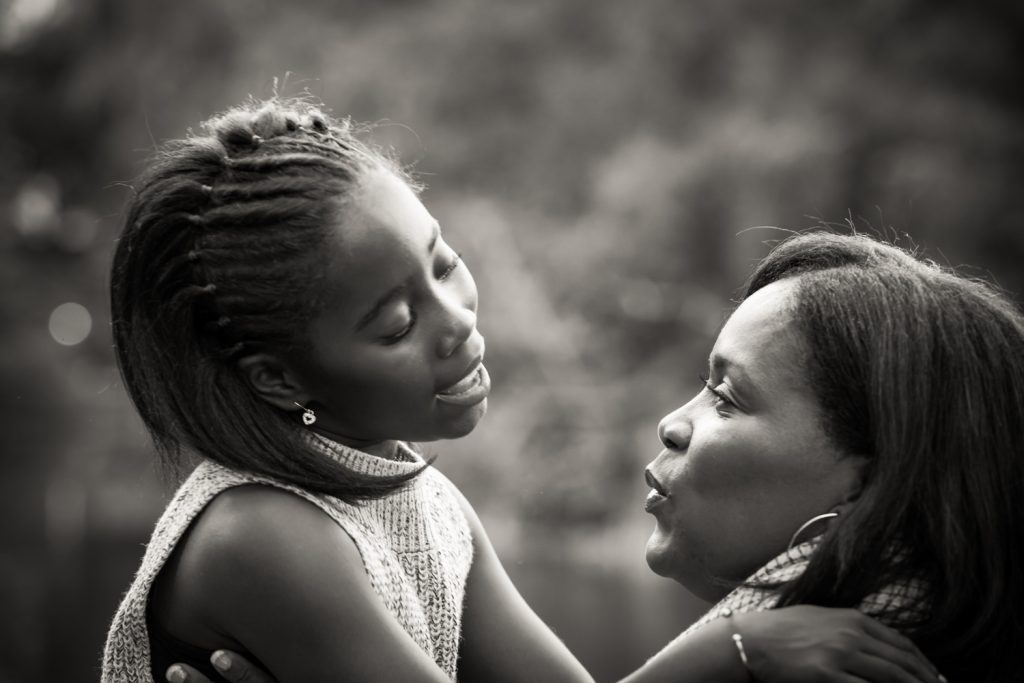 Black and white photo of mother and daughter in Central Park