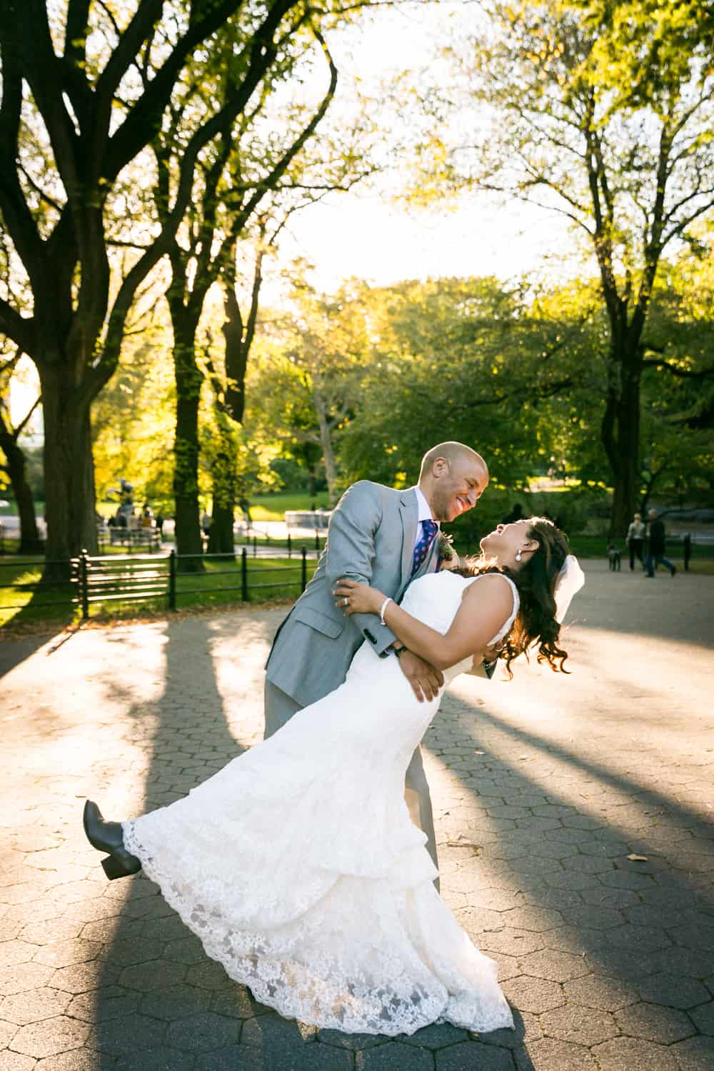 Bride and groom dancing on the Mall in Central Park