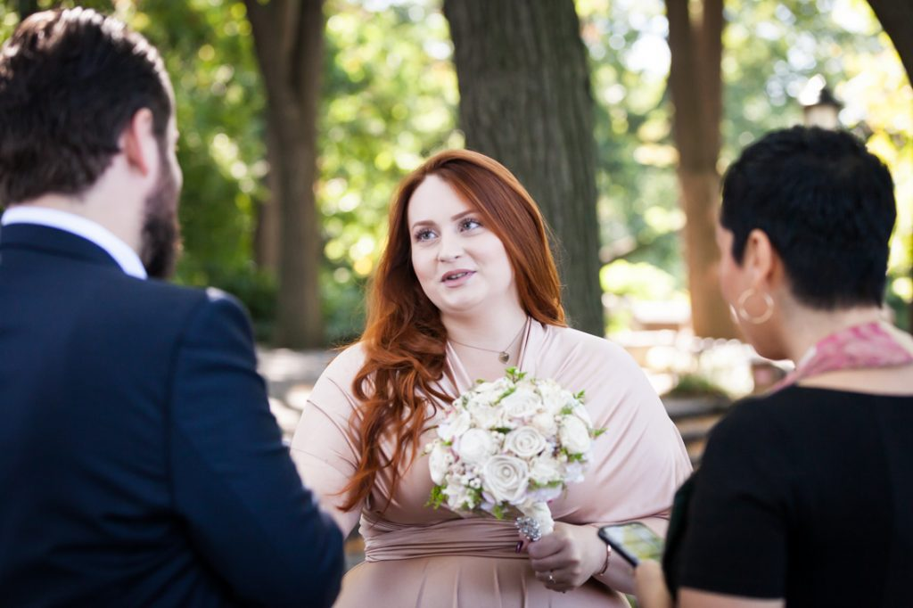 Bride and groom exchanging vows at a Linden Terrace wedding