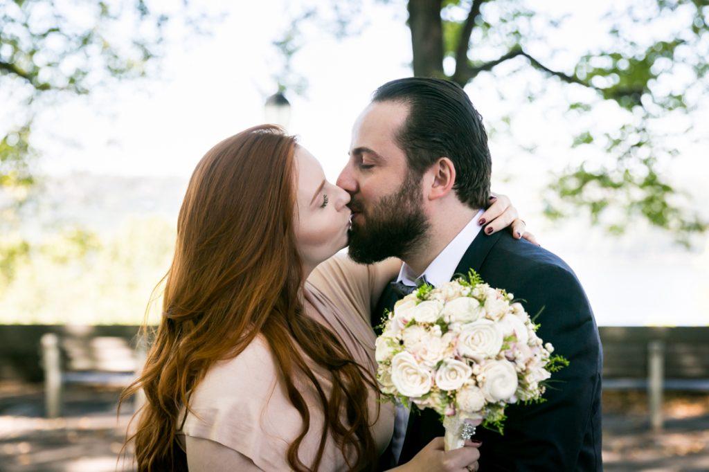 Bride and groom kissing after Linden Terrace wedding